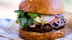 Banh mi camel burger | Despite the brutish appearance of the animal, camel meat is surprisingly delicate, with a flavour similar to veal. It's also very lean, so mixing ground meat with minced hump fat is necessary to produce a good burger patty. You could substitute fatty beef mince for this banh mi recipe instead.