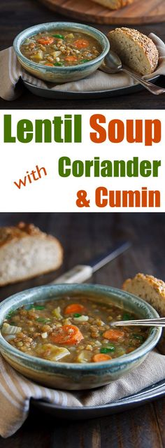 Soup with Coriander and Cumin Warm up your fall or winter nights with this subtly spiced, low-fat, vegan soup.Warm up your fall or winter nights with this subtly spiced, low-fat, vegan soup. Lentil Soup Recipes, Vegetarian Recipes, Healthy Recipes, Vegetarian Soup, Vegan Soups, Vegan Dishes, Hamburgers, Instant Pot, Whole Food Recipes
