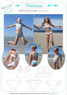 THALASSA, maillot de bain 2 pièces pour filles du  2 au 12 ans. Patron de couture au format PDF. Patron de couture, patron maillot de bain fille