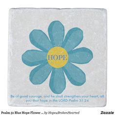 Psalm 31 Blue Hope Flower Marble Stone Coaster