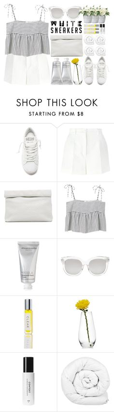 """""""Bright White Sneakers Stripe Crop Top Lunch Clutch"""" by jiabao-krohn ❤ liked on Polyvore featuring Golden Goose, Dolce&Gabbana, Marie Turnor, MANGO, African Botanics, Forever 21, Mikasa, Brinkhaus, NDI and croptop"""