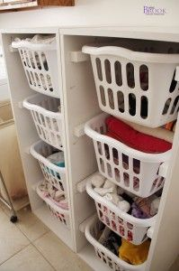 Laundry room update with Ana White Laundry Basket dressers from BeingBrook