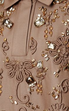 Camel Embroidered Mikado Shirt Dress by Rochas for Preorder on Moda Operandi