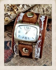 Women's Leather Watch Cuff Bracelet with Silver Watch