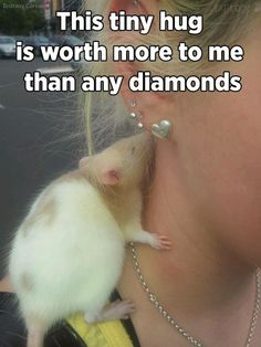 This is so sweet, a rattie kisses a women on her nack! So adorable  :-) !!