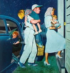 """Long Day"", detail of Saturday Evening Post cover - September 1951 - art by George Hughes; painting a la Rockwell Photo Vintage, Vintage Ads, Vintage Prints, Vintage Posters, Vintage Magazines, Vintage Pictures, Vintage Images, Norman Rockwell Art, Vintage Housewife"
