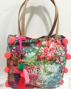 Pom Pom beach bag/ Beach bag/Tassels bags/Yoga by JavaSpirit… Glands, Yoga Bag, Summer Bags, Luxury Bags, Wallets For Women, Summer Collection, Bucket Bag, Tassels, Purses