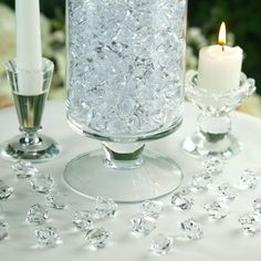 300 Pack Clear Large Acrylic Ice Bead Vase Fillers Table Decoration   eFavorMart Reception Table, Wedding Table, Wedding Favors, Wedding Decorations, Table Decorations, Wedding Ideas, Christmas Decorations, Cinderella Decorations, Bling Wedding Centerpieces