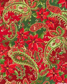 Paisley + Christmas = Perfect!  Fall Holiday Metallic - Poinsettia Paisley - Wine/Metallic