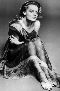Romy Schneider - (Rosemarie Magdelena Albach-Retty was born on   23 September, 1938 in Vienna, Austria into a family of actors. Making her film debut at the age of 15, her breakthrough came two years later in the very popular trilogy Sissi. She died on May 29, 1982 (age 43) in Paris, France.    (For me, she was incredibly beautiful.)