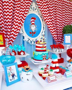 Sweet table from a Dr. Seuss Birthday Party on Kara\'s Party Ideas | KarasPartyIdeas.com (5)