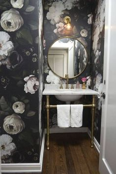 powder room wallpaper black and white floral wallpaper - dark blooms