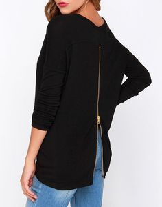 Black Long Sleeve Back Zipper T-shirt 14.99