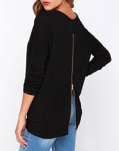 Fashion Women Long Sleeve Loose T-shirts Casual Back Zipper Shirt Blouse Tops LM Fancy Tops For Girls, Casual Tops For Women, Ladies Tops, Fancy Jeans Top, Denim Shirts For Girls, Top Chic, Sleeveless Coat, Cute Spring Outfits, Cute Blouses