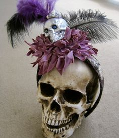 Skull Fascinator: Feathers, Sequins, Flowers, Vintage Jewels 3 Different Color Combos One of a Kind ooak OR Custom Design in Your Colors. $58.00, via Etsy.