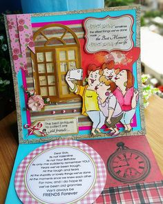 Picture Perfect Set (#4130) Art Impressions Girlfriends ... handmade easel card.