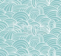 Seamless sea hand-drawn pattern, waves background. royalty-free stock vector art