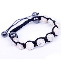 White Stone Balls Beads Charms Bracelet Cords Adjustable Friendship