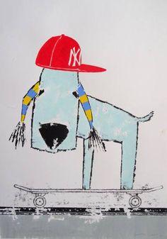 "Saatchi Art Artist Andy Shaw; Painting, ""N.Y. Yankees Bedlington Skateboard Dog"" #art"