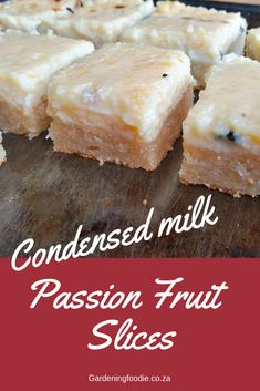 These Condensed Milk Passion Fruit Slices is a combination of sweet and tangy flavors to make up a delicious baked dessert. Tray Bake Recipes, Best Dessert Recipes, Fun Desserts, Delicious Desserts, Cake Recipes, Yummy Recipes, Fruit Slice, Condensed Milk Recipes, Cookie Table