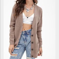 Tan sweater cardigan Super cute and warm!! Pairs great with any outfit!! (First picture is just for reference) Forever 21 Sweaters Cardigans