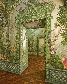 """I was rather gobsmacked when I found this one. Even i couldn't live with this! 'The Bergl Rooms in Vienna's Schönbrunn Palace. Murals by Johann Wenzel Bergl"""" Home Interior Design, Interior Architecture, Interior And Exterior, Interior Modern, Kitchen Interior, Chinoiserie, Wall Murals, Wall Art, Stage Decorations"""