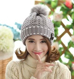 b58ca435a804bc BomHCS Fashion Cute Autumn Winter Warm Knit Snow Hat Beanie Crochet Cap Hats  With Hair Ball-in Skullies & Beanies from Women's Clothing & Accessories on  ...