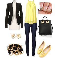 """""""Желтый топ, желтые мокасины, пиджак и джинсы"""" by t-sunrise on Polyvore"""