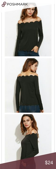 """Black Scalloped top Black scallop design front and back on top and bottom.  Off the shoulder sexy.  Polyester/Spandex.  Sleeve: 23"""".  Bust: 31.5"""".  Length: 21.5.  NWOT.  (Price Firm) Tops Blouses"""