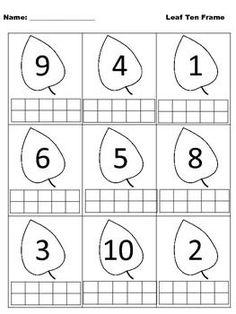 Fall Ten Frames by Kreative in Kindergarten Kindergarten Math Activities, Montessori Math, Preschool Printables, Preschool Math, Preschool Worksheets, Kindergarten Teachers, Kindergarten Anchor Charts, Math Books, 1st Grade Math