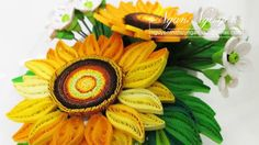 Quilled sunflower made by paper. You can make cards, pictures and decorative flowerpot . Quilling Flowers, Paper Quilling, Paper Art, Paper Crafts, Quilling Tutorial, Quilling Techniques, Paper Craft Supplies, Flower Paper, Flower Pots