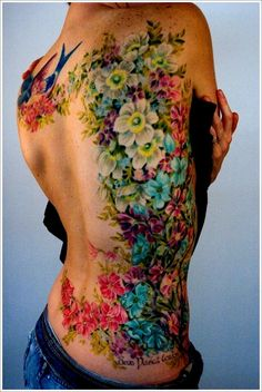 colorful flowers, tattoo pattern, watercolor tattoos, body tattoos, back tattoos