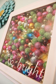 Fill A Shadow Box With Ornaments~if Jen could find some that weren't mangled beyond repair! #Christmas