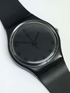 Vintage Swatch Watch Blackout GB105 1985 All Black Retro Gift by ThatIsSoFunny on Etsy