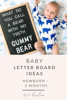 Baby Letter Board Ideas: Newborn – 3 Months – DIY Darlin' Baby Letter Board Ideas: Newborn – 3 Months – DIY Darlin',Letterboard Letter boards are a really easy and fun way to document milestones. 3 Month Old Baby Pictures, One Month Old Baby, Milestone Pictures, Monthly Baby Photos, Funny Baby Pictures, Baby Month By Month, Monthly Pictures, Sports Pictures, Baby Letters