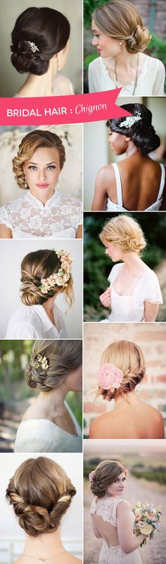 The Best of Bridal Chignon Hairstyles - We've picked 14 gorgeous options and found DIY instructions Simple Wedding Hairstyles, Fancy Hairstyles, Bride Hairstyles, Fashion Hairstyles, Beautiful Hairstyles, Vintage Hairstyles, Wedding Hair And Makeup, Wedding Beauty, Hair Makeup