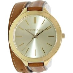 358d8c73 Michael Kors Women's Runway Brown Leather Analog Quartz Watch - Off + FREE  2 Day Shipping - Only!