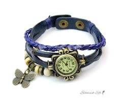 Leder Armbanduhr Schmetterling VINTAGE blau   im Organza...