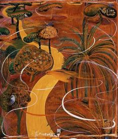 Brett Whiteley, Wei, 1979 oil and collage on board x cm Australian Painting, Australian Artists, Kunst Inspo, Art Inspo, Art And Illustration, Landscape Art, Landscape Paintings, Landscapes, Kunst Der Aborigines
