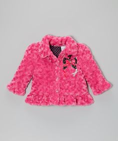 Take a look at this Pink Bow Faux Fur Ruffle Coat - Infant, Toddler & Girls by Young Hearts on #zulily today!