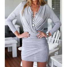 Wholesale Alluring Plunging Neck Long Sleeve Solid Color Ruffled Women's Dress Only $5.80 Drop Shipping | TrendsGal.com