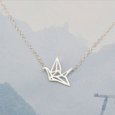 925 Sterling Silver Refinement Paper Cranes Short Necklaces & Pendants For Women Simple Sterling Silver Jewelry Collier D8