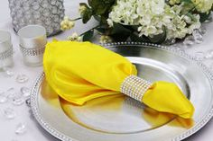 Satin Napkin - Canary Yellow (Bright Yellow) This looks pretty. Rainbow Wedding, Yellow Wedding, Wholesale Linens, Quince Decorations, Table Overlays, Yellow Theme, Bright Yellow, Table Centerpieces, Sweet 16