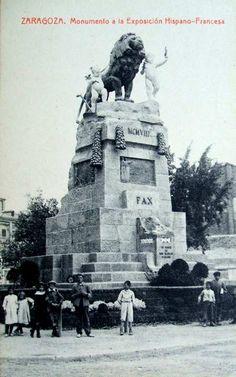 Postales antiguas de Zaragoza: Monumento a la Exposición Hispano-Francesa