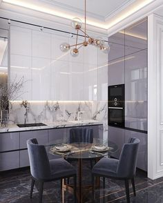 purple black marble modern kitchen small smart space condo apartment design ideas shop room ideas lilac cabinets color cupboards