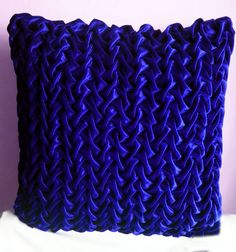 Royal Blue Velvet Decorative Throw PillowsTextured by KnotnStitch