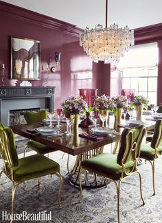 Celerie Kemble does purple lacquered walls in this dining room