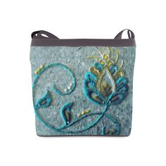 Gold Turquoise Jacobean Floral Crewel Crossbody Bags (Model 1613)