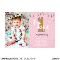 1st birthday invitation - girls glitter party | Zazzle.co.uk