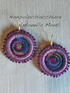 Hoop earrings crochet/ beads  / Orecchini a cerchio all'uncinetto / Perline